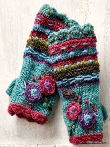 Blue Casual Knitted Tribal Gloves & Mittens