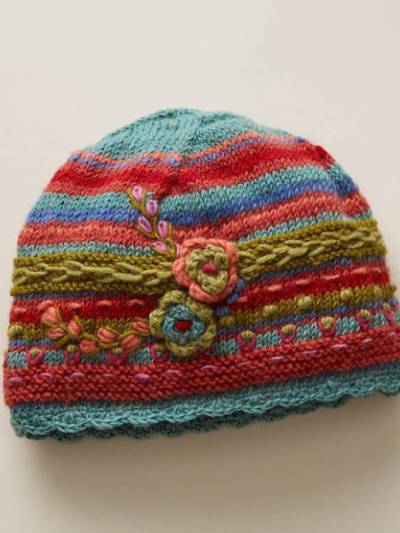 Red Casual Floral Knitted Hats
