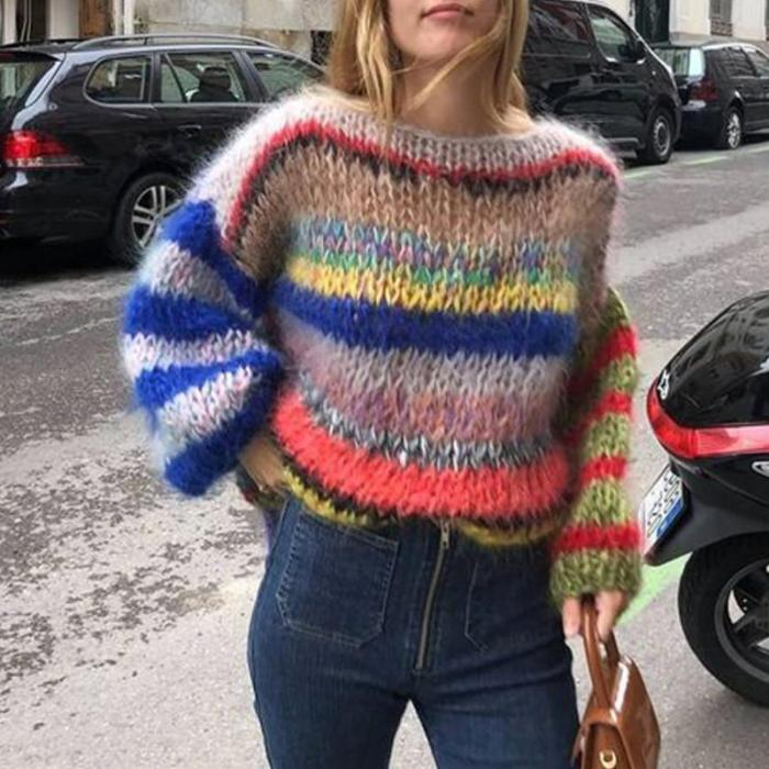 Stylish Color Striped Long Sleeve Sweater