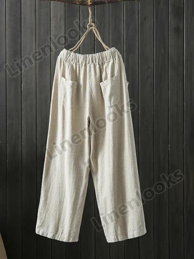 Cotton Linen Loose Drawstring Elastic Pocket Casual Slacks Harem Trousers