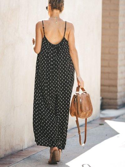 Black Casual Polka Dots Jumpsuits