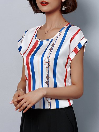 Plus Size Women Short  Sleeve  Round Neck Striped  Floral   Casual  Tops