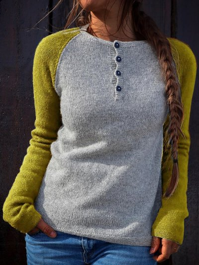 Color Block Button Down Sweater