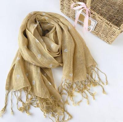 100% High Quality Linen Clover Floral Print Women Scarf Pure Linen Scarf Long Beach Scarfs For Ladies