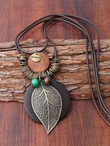 Vintage Paraffined Rope Leaf Necklaces Accessories