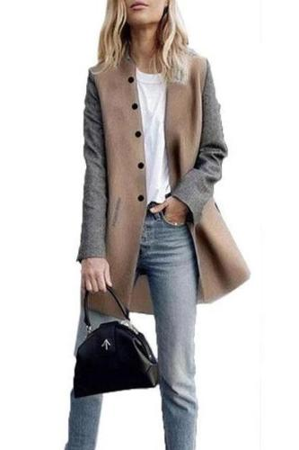 Round Neck  Single Breasted  Color Block Coats