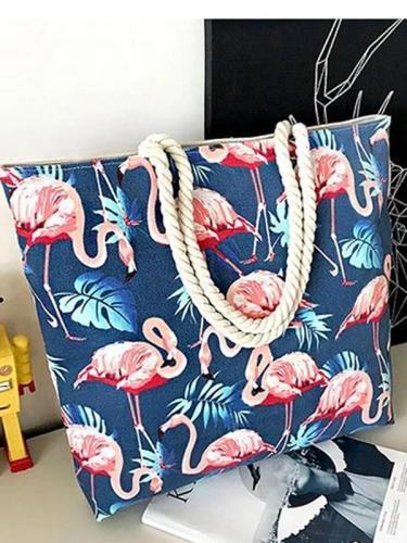 Women's Famingo Print Zipper Casual Canvas Tote Bag