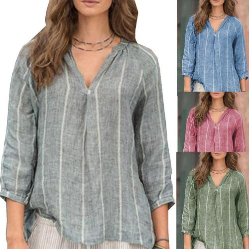 Stripes V-neck 3/4 Sleeve Large Size Women's Linen Cotton Tops Shirt