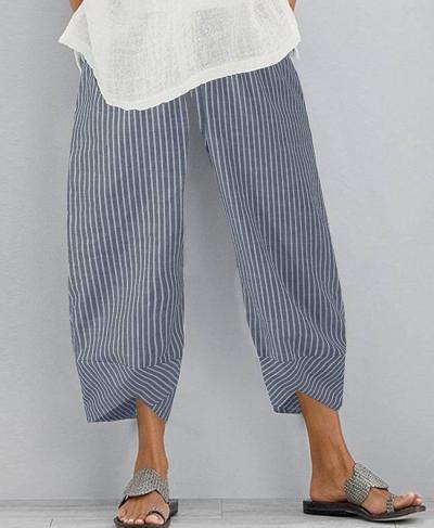 Cotton Linen Harem Pants Vintage Floral Printed Pants Summer Trousers Elastic Waist Loose Pant