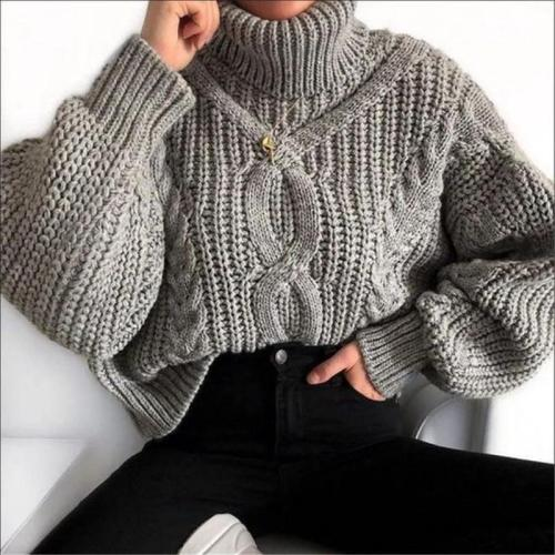 Fashion Women's Solid Color Turtleneck Sweater