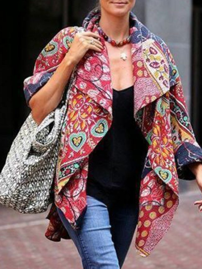Red Color-Block Patchwork Cotton-Blend Casual Outerwear