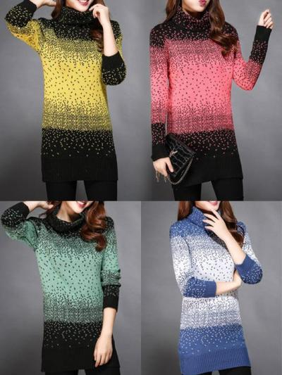 Knitted Long Sleeve Color-block Plus Size Sweater