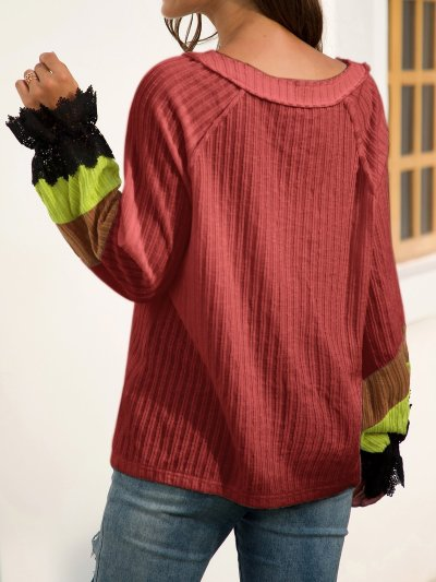 Casual V Neck Long Sleeve Beaded Shift Sweaters