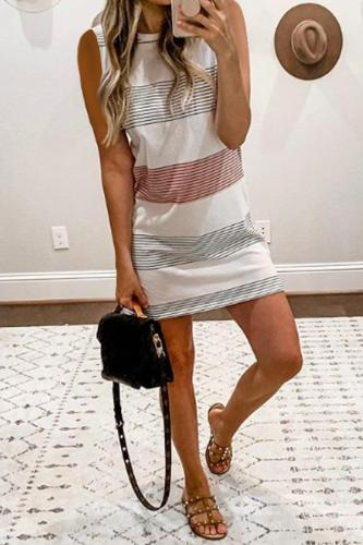 Round Neck  Striped Bodycon Dresses