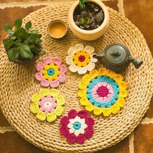 Hand Hook Flower Coaster Eight-piece Set