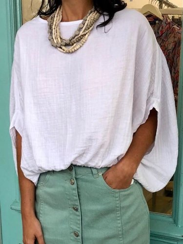Plus Size Solid Casual Half Sleeve Tops