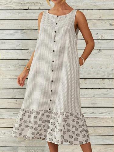 Plaid Printed Patchwork O-Neck Button Midi Dress