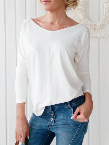 Solid Cotton-Blend Long Sleeve Shirts & Tops