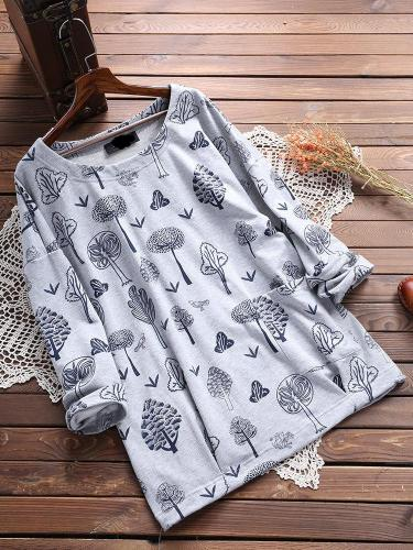 Long Sleeve Floral Round Neck Casual Tops