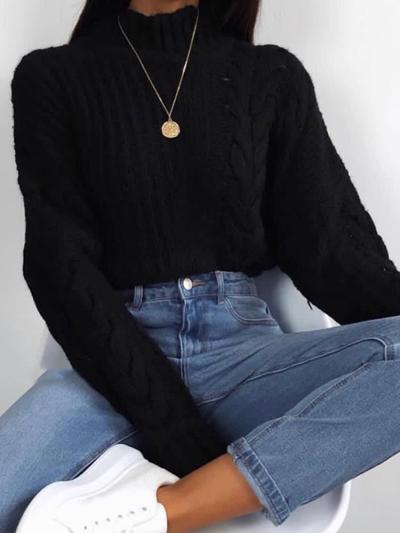 Casual High Collar Black Twist Loose Knit Sweater