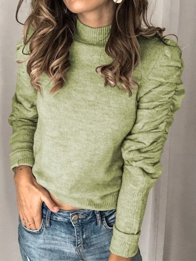 Stand Collar Paneled Long Sleeve Shirred Sweaters