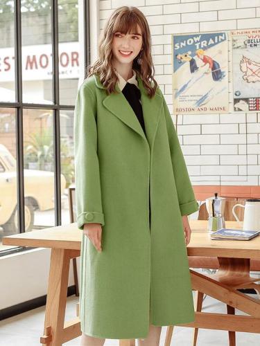 Women's Long Coat Elegant Solid Color Turn Down Collar Wool Overcoats