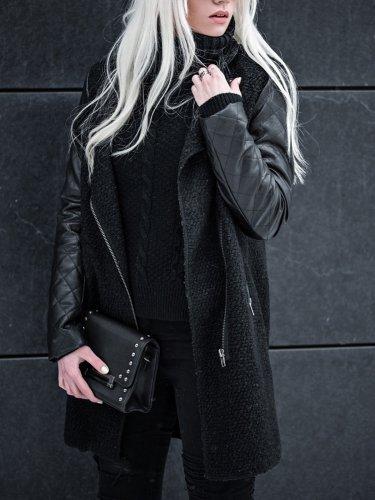 PU Paneled Casual Stand Collar Long Sleeve Pockets Coat