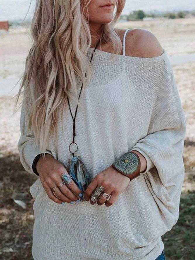 Beige Crew Neck Casual Solid Shirts & Tops