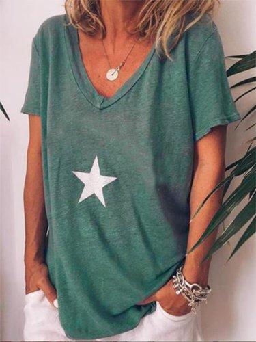 Casual V Neck Printed Short Sleeve Shirts