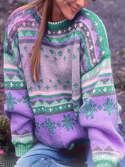 Color-Block Tribal Long Sleeve Sweaters
