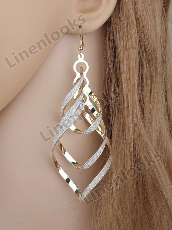Fashion Women Earrings Gold Filled Spiral Scrub Long Dangle Drop Earrings