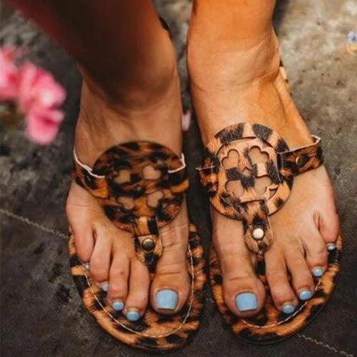 Leopard Beach Artificial Leather Flat Heel Summer Slippers