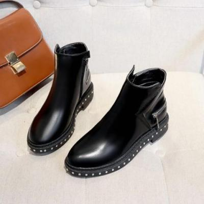Winter Chunky Heel Pu Zipper Boots