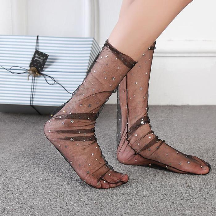 Ladies Fashion Lace Stockings Transparent Crystal Socks