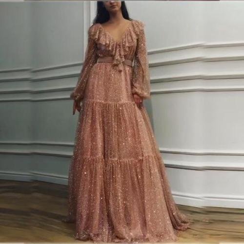 Fashion Sexy V Neck Sequins Evening Party Maxi Dresses