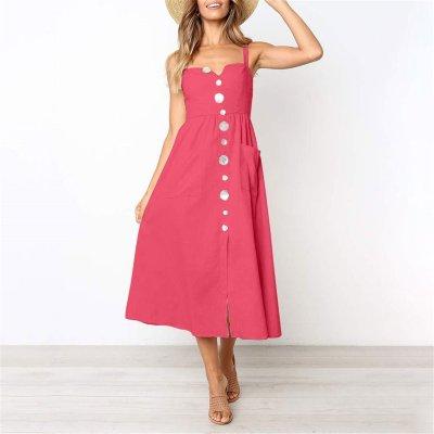 Fashion Off Shoulder Plain Button Embellished Vacation Dress