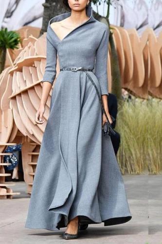 Fashion Irregular Collar Sexy Long Evening Dress