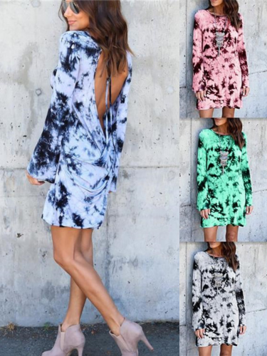 Back Hollow-up Printed Vintage Round Neck Long Sleeve Causal  Dresses