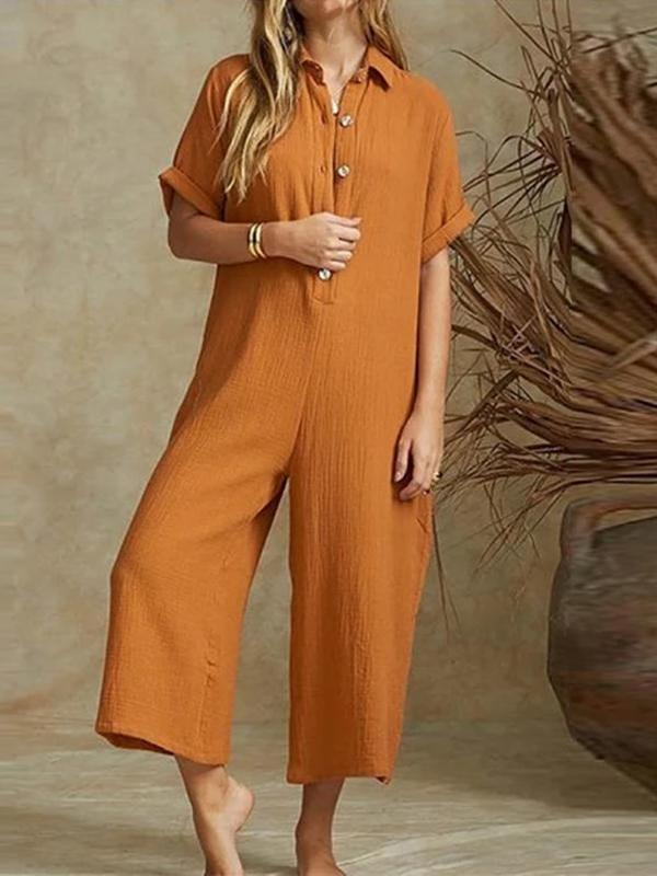 Sexy Solid Color Short Sleeved Casual Jumpsuit