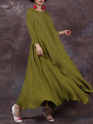 Casual A-Line Linen Maxi Dresses