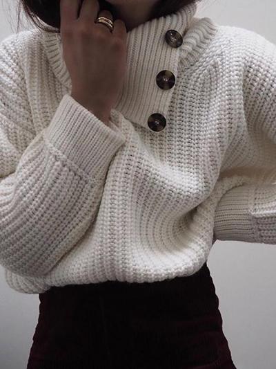 Women's Knit Button Collar Sweater