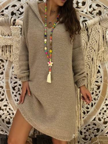 Gray Knitted Hoodie Long Sleeve Solid Shirts & Tops