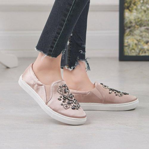 Women Flat Loafers Casual Comfort Rhinestone Slip On Shoes