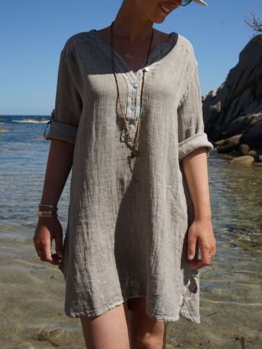 Gray V Neck Solid Long Sleeve Cotton Dresses