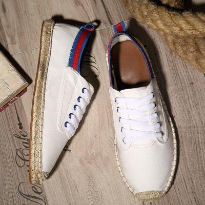 Canvas Lace-up Flat Shoes