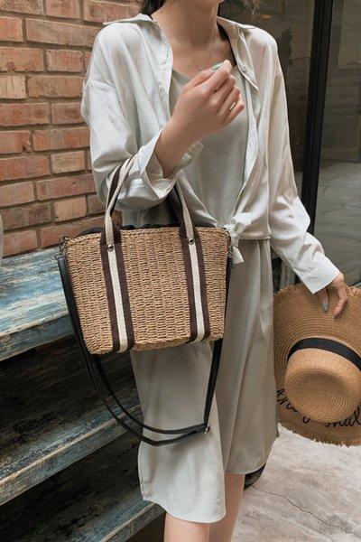 Women's Beach Pull Rope Woven Straw Sling Bag Handbag