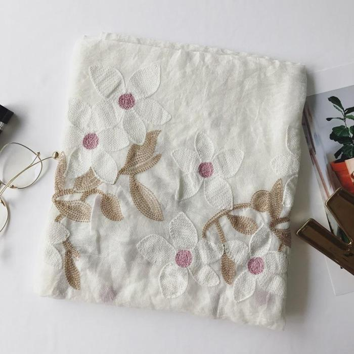 Spring Cotton Hemp National Wind Flowers Cotton Hemp Embroidered Pure Color Scarf Female Flax Super Long Silk Scarf Beach Shawl