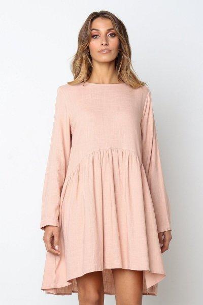 Vintage Women Casual Loose Dress Solid Long Sleeve Bohemia Autumn Dresses Plus Size Dress