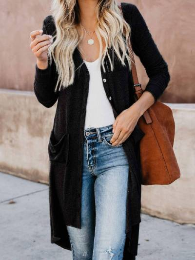 Round Neck Long Sleeve Buttoned Outerwear