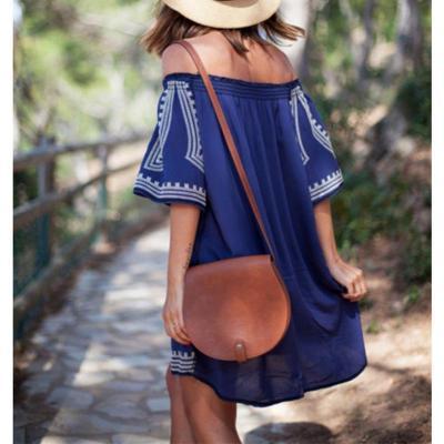 Off Shoulder  Print  Half Sleeve Dresses